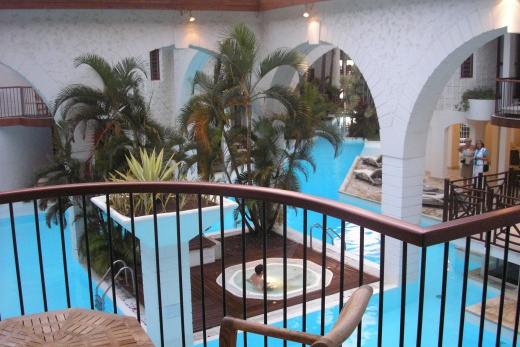 Le Saint Alexis pohled z pokoje na bazén